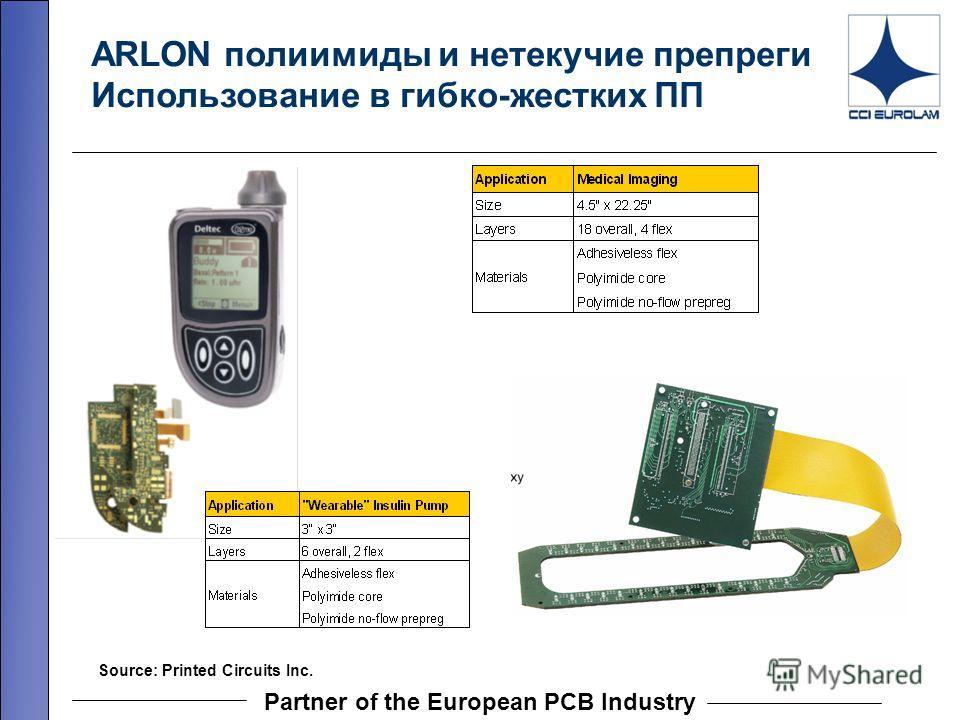 Partner of the European PCB Industry Source: Printed Circuits Inc. ARLON полиимиды и нетекучие препреги Использование в гибко-жестких ПП