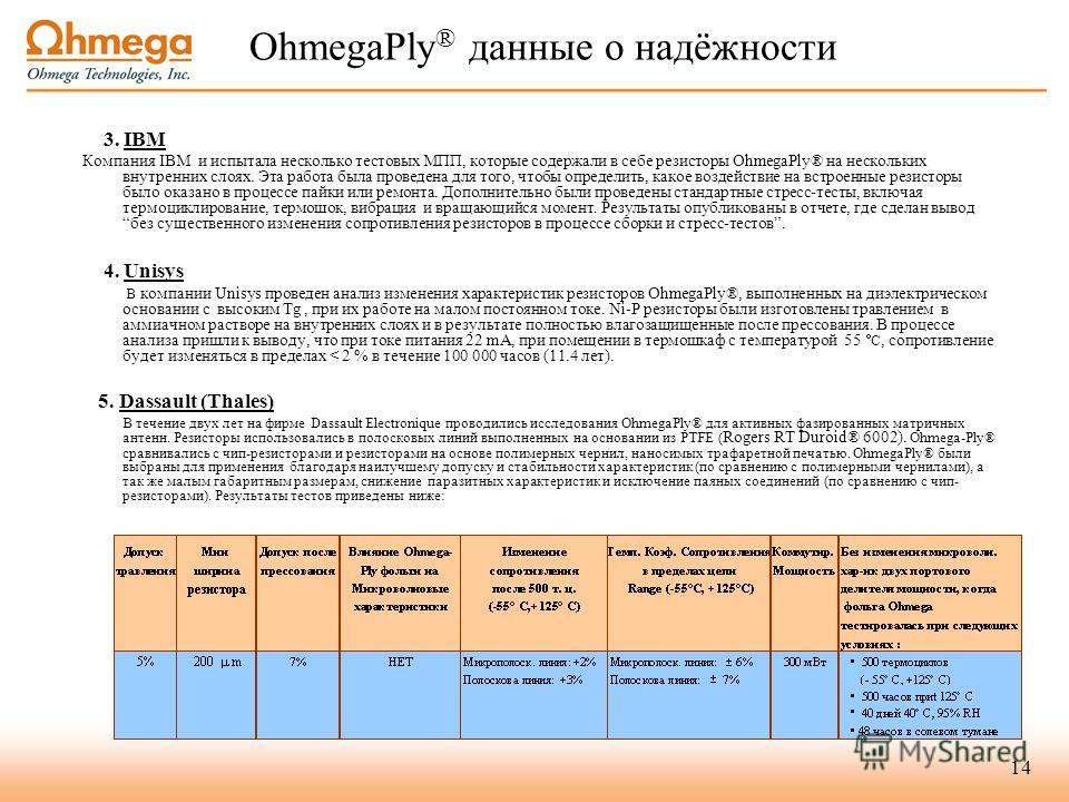 14 OhmegaPly ® данные о надёжности 3. IBM Компания IBM и испытала несколько тестовых МПП, которые содержали в себе резисторы OhmegaPly® на нескольких внутренних слоях. Эта работа была проведена для того, чтобы определить, какое воздействие на встроен