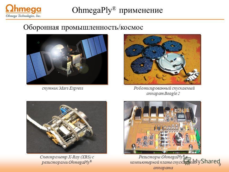 9 спутник Mars Express Роботизированный спускаемый аппарат Beagle 2 Спектрометр X-Ray (XRS) с резисторами OhmegaPly ® Резисторы OhmegaPly ® в компьютерной плате спускаемого аппарата OhmegaPly ® применение Оборонная промышленность/космос