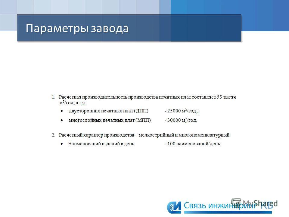Параметры завода KБKБ