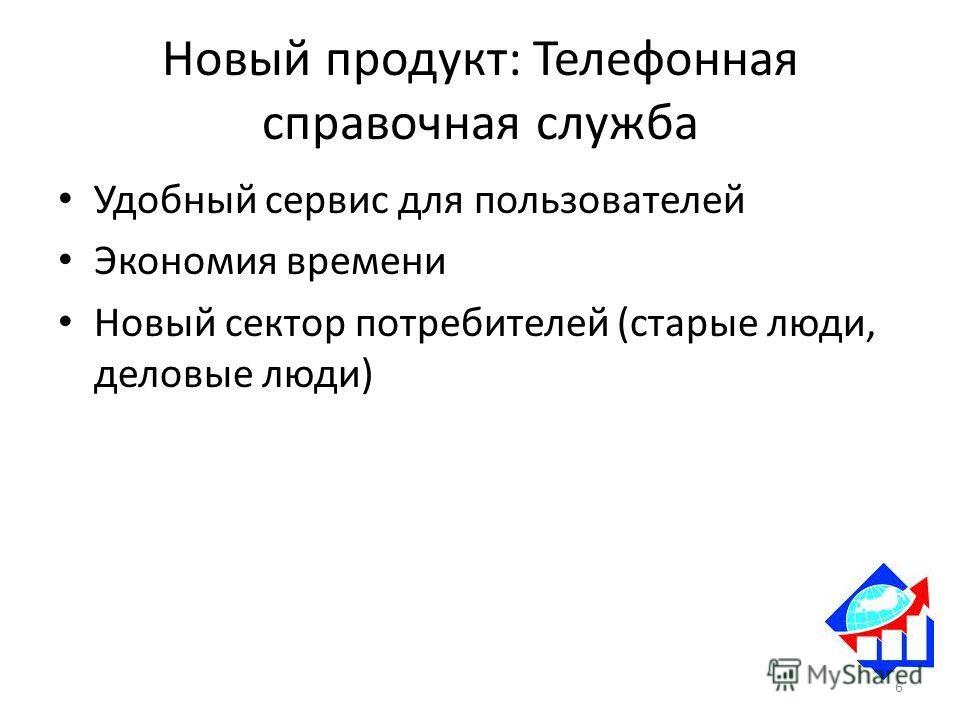 Новый продукт: Телефонная справочная служба Удобный сервис для пользователей Экономия времени Новый сектор потребителей (старые люди, деловые люди) 6