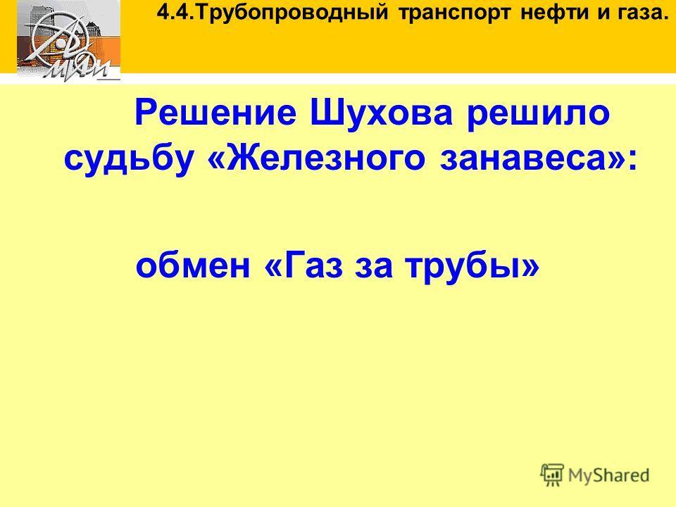 Решение Шухова решило судьбу «Железного занавеса»: обмен «Газ за трубы» 4.4.Трубопроводный транспорт нефти и газа.