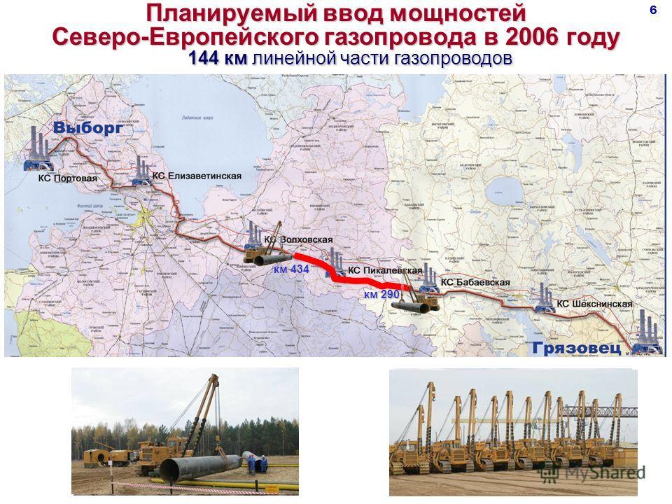 Планируемый ввод мощностей Северо-Европейского газопровода в 2006 году 144 км линейной части газопроводов км 290 км 434 6