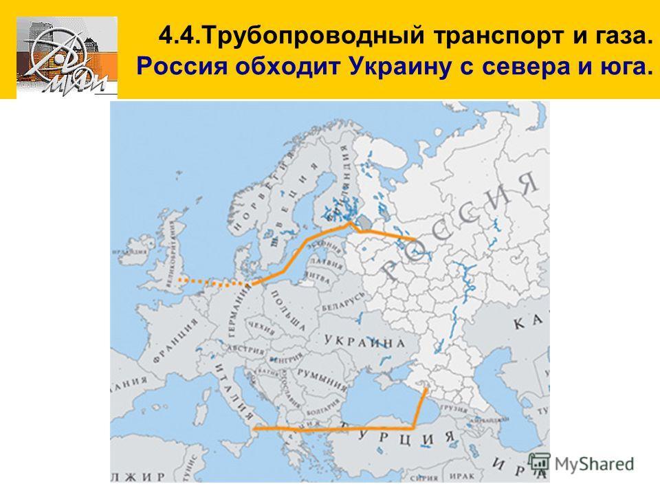 4.4.Трубопроводный транспорт и газа. Россия обходит Украину с севера и юга.
