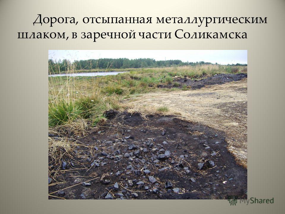 Дорога, отсыпанная металлургическим шлаком, в заречной части Соликамска