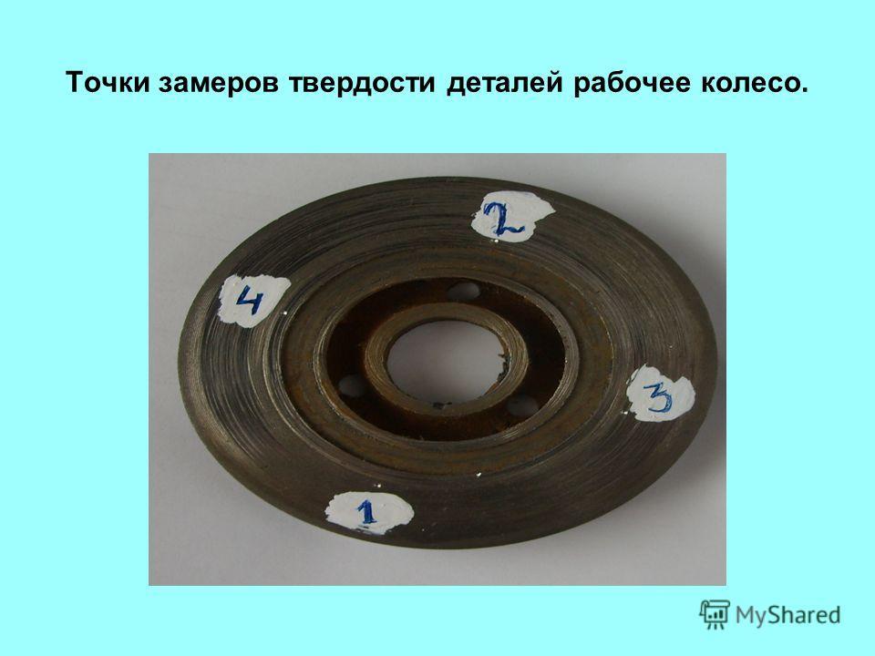 Точки замеров твердости деталей рабочее колесо.