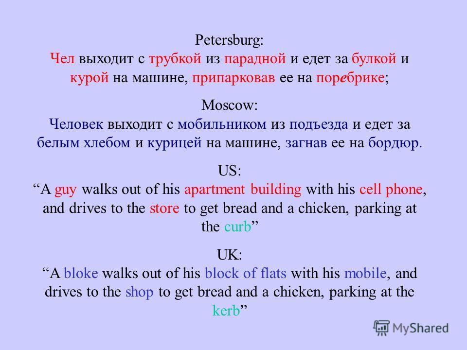 Petersburg: Чел выходит с трубкой из парадной и едет за булкой и курой на машине, припарковав ее на поребрике; Moscow: Человек выходит с мобильником из подъезда и едет за белым хлебом и курицей на машине, загнав ее на бордюр. US: A guy walks out of h