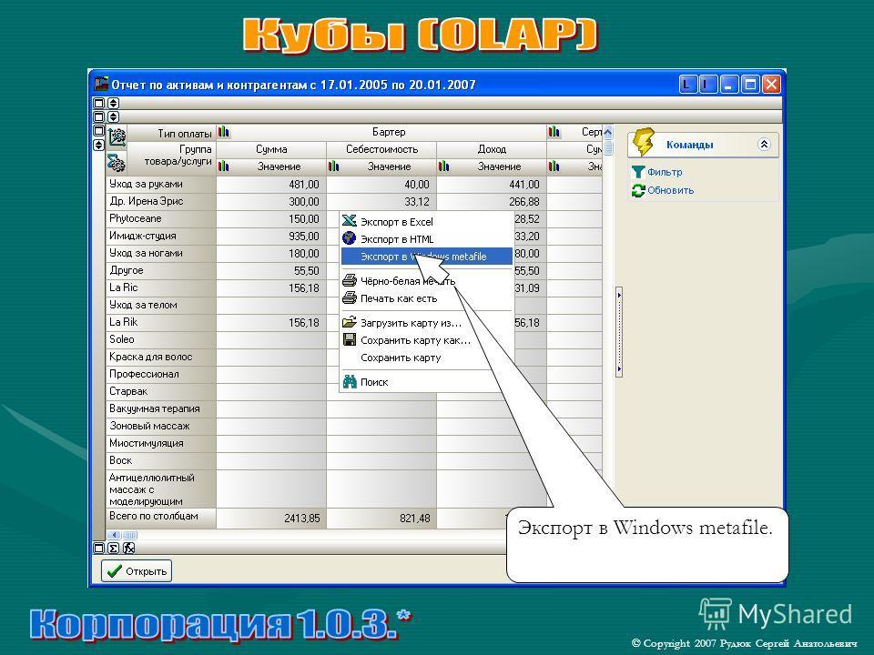 © Copyright 2007 Рудюк Сергей Анатольевич Экспорт в Windows metafile.