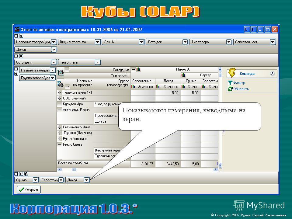 © Copyright 2007 Рудюк Сергей Анатольевич Показываются измерения, выводимые на экран.