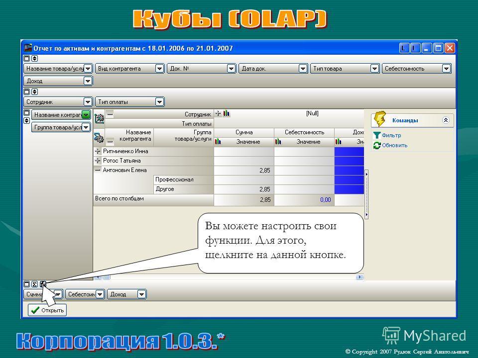 © Copyright 2007 Рудюк Сергей Анатольевич Вы можете настроить свои функции. Для этого, щелкните на данной кнопке.