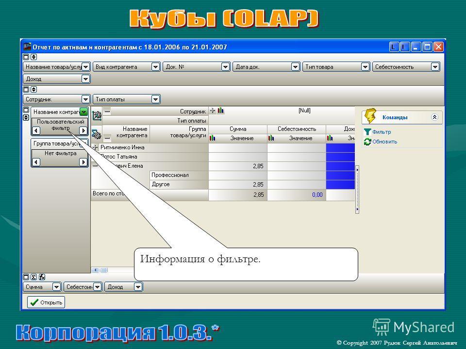 © Copyright 2007 Рудюк Сергей Анатольевич Информация о фильтре.