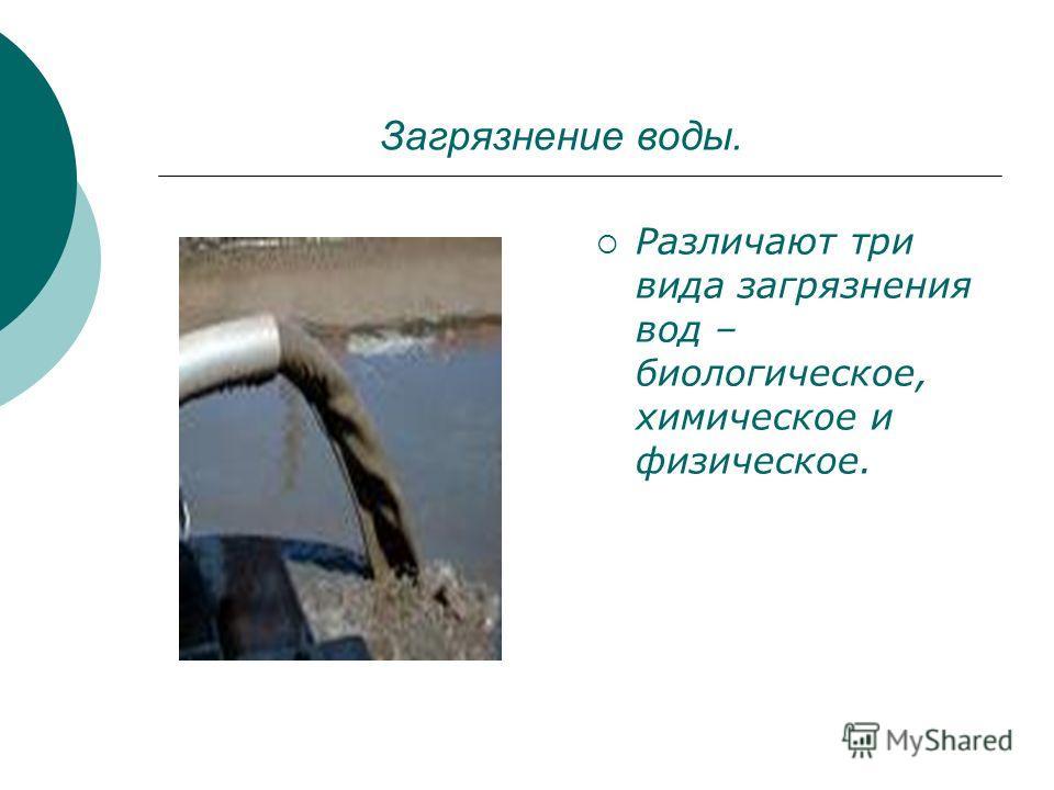 Загрязнение воды. Различают три вида загрязнения вод – биологическое, химическое и физическое.