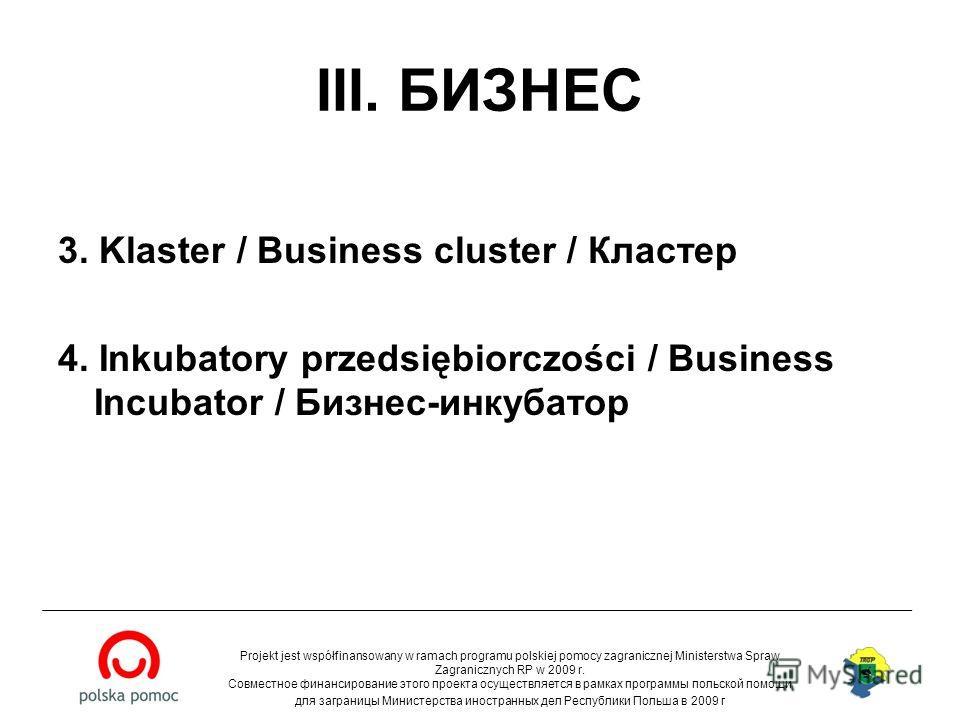 III. БИЗНЕС 3. Klaster / Business cluster / Кластер 4. Inkubatory przedsiębiorczości / Business Incubator / Бизнес-инкубатор Projekt jest współfinansowany w ramach programu polskiej pomocy zagranicznej Ministerstwa Spraw Zagranicznych RP w 2009 r. Со