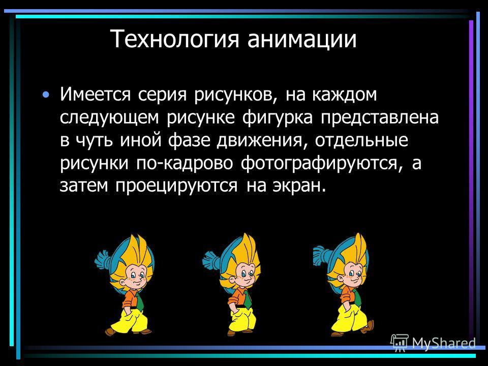 Технология анимации Имеется серия рисунков, на каждом следующем рисунке фигурка представлена в чуть иной фазе движения, отдельные рисунки по-кадрово фотографируются, а затем проецируются на экран.