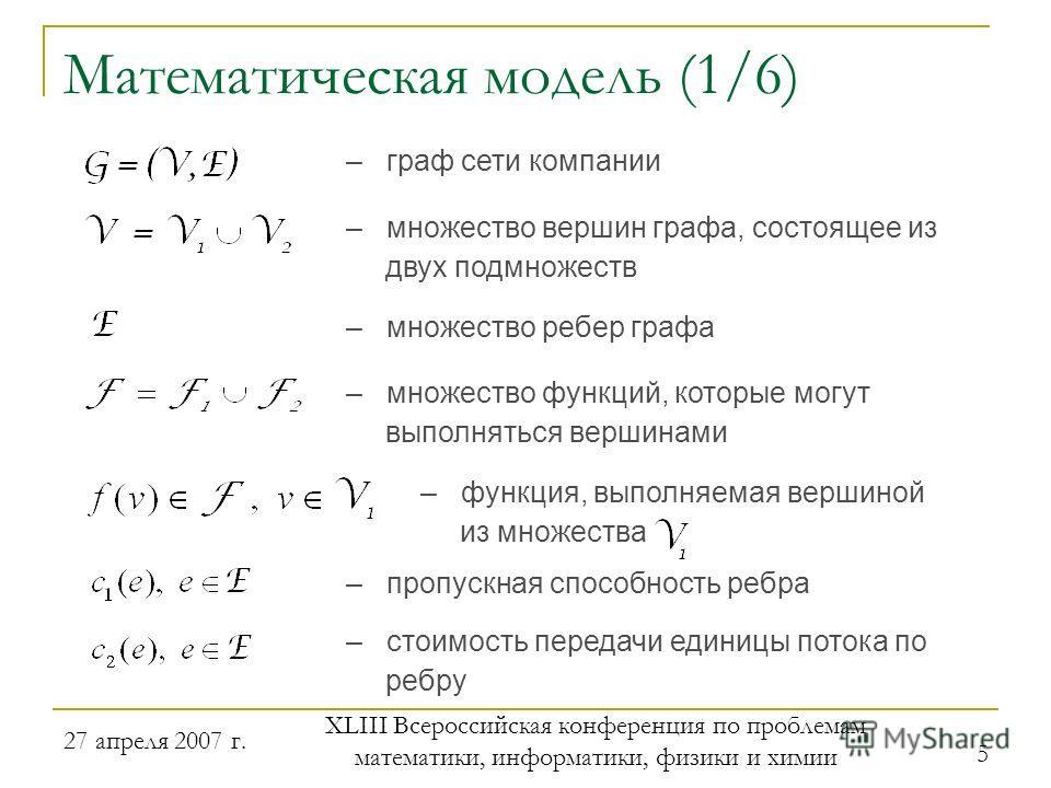 27 апреля 2007 г. XLIII Всероссийская конференция по проблемам математики, информатики, физики и химии 5 – граф сети компании Математическая модель (1/6) – множество вершин графа, состоящее из двух подмножеств – множество функций, которые могут выпол