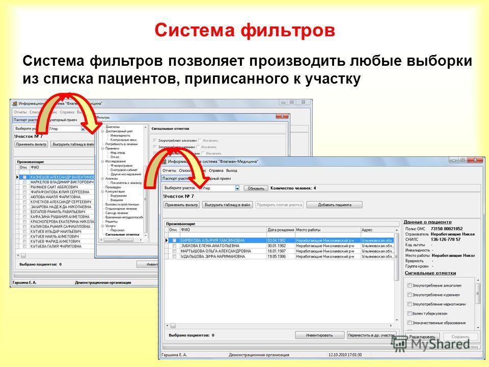 Система фильтров Система фильтров позволяет производить любые выборки из списка пациентов, приписанного к участку