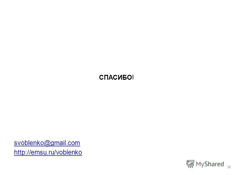 СПАСИБО! svoblenko@gmail.com http://emsu.ru/voblenko 38