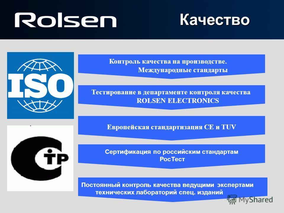 Контроль качества на производстве. Международные стандарты Тестирование в департаменте контроля качества ROLSEN ELECTRONICS Европейская стандартизация CE и TUV Сертификация по российским стандартам РосТест Постоянный контроль качества ведущими экспер