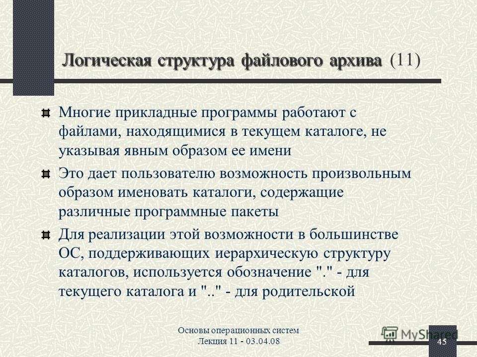 Основы операционных систем Лекция 11 - 03.04.0845 Логическая структура файлового архива Логическая структура файлового архива (11) Многие прикладные программы работают с файлами, находящимися в текущем каталоге, не указывая явным образом ее имени Это