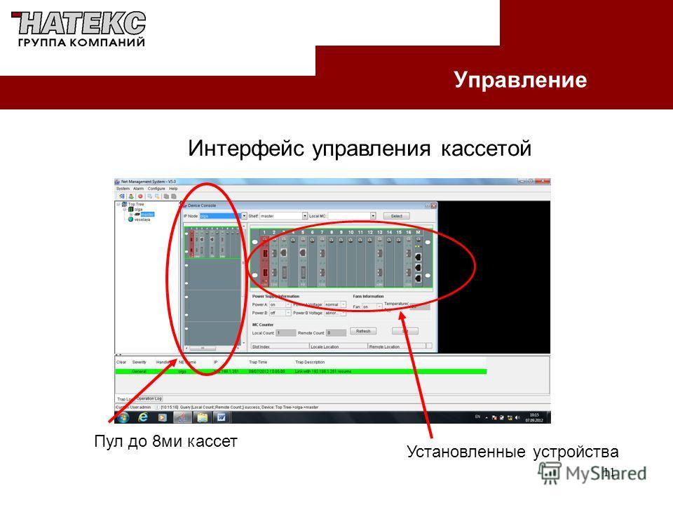 11 Управление Интерфейс управления кассетой Пул до 8ми кассет Установленные устройства