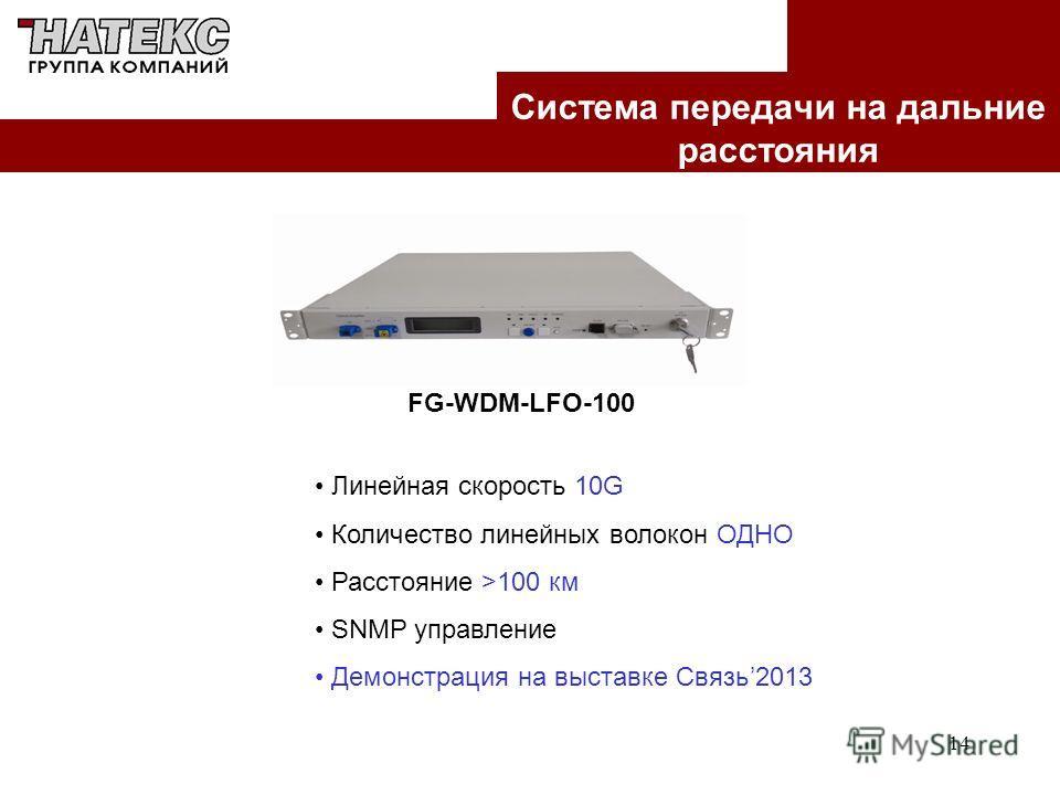 14 Система передачи на дальние расстояния FG-WDM-LFO-100 Линейная скорость 10G Количество линейных волокон ОДНО Расстояние >100 км SNMP управление Демонстрация на выставке Связь2013