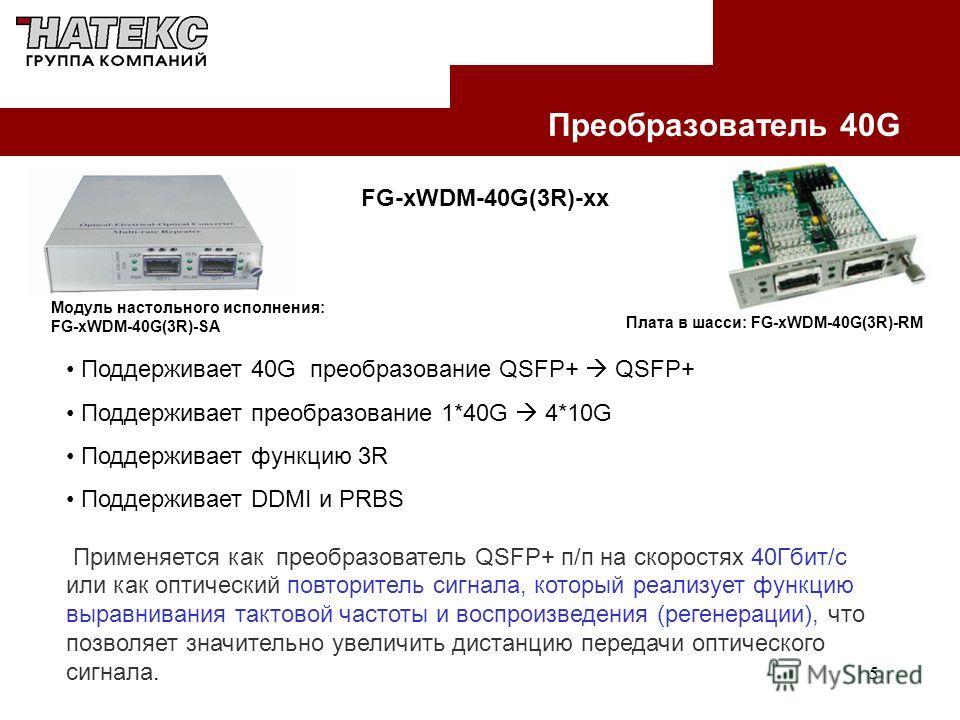 5 Преобразователь 40G Модуль настольного исполнения: FG-xWDM-40G(3R)-SA FG-xWDM-40G(3R)-xx Поддерживает 40G преобразование QSFP+ QSFP+ Поддерживает преобразование 1*40G 4*10G Поддерживает функцию 3R Поддерживает DDMI и PRBS Применяется как преобразов