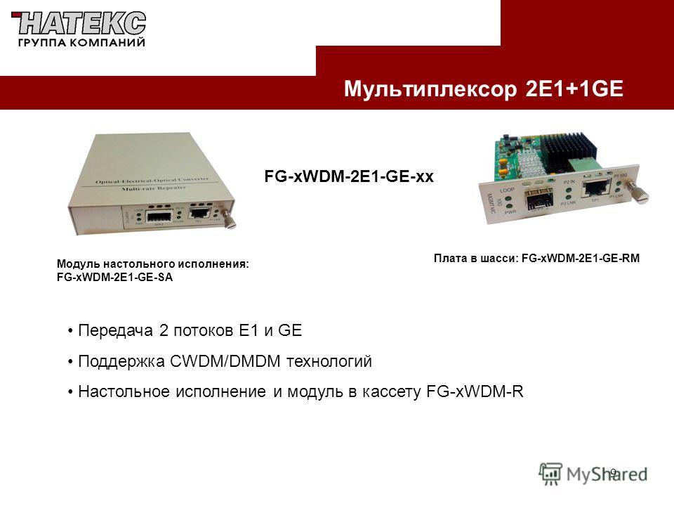9 Мультиплексор 2E1+1GE Модуль настольного исполнения: FG-xWDM-2E1-GE-SA Плата в шасси: FG-xWDM-2E1-GE-RM FG-xWDM-2E1-GE-xx Передача 2 потоков Е1 и GE Поддержка CWDM/DMDM технологий Настольное исполнение и модуль в кассету FG-xWDM-R