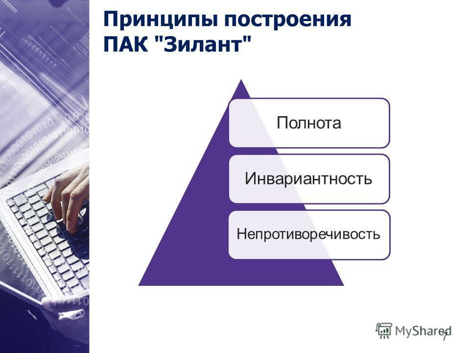 Принципы построения ПАК Зилант ПолнотаИнвариантность Непротиворечивость 7