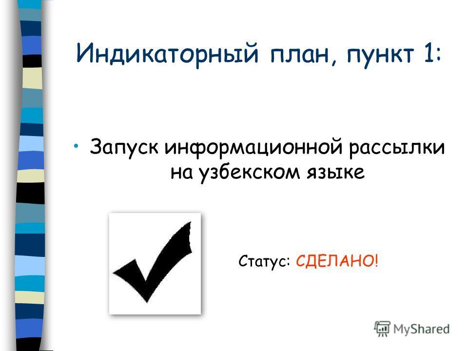 Индикаторный план, пункт 1: Запуск информационной рассылки на узбекском языке Статус: СДЕЛАНО!