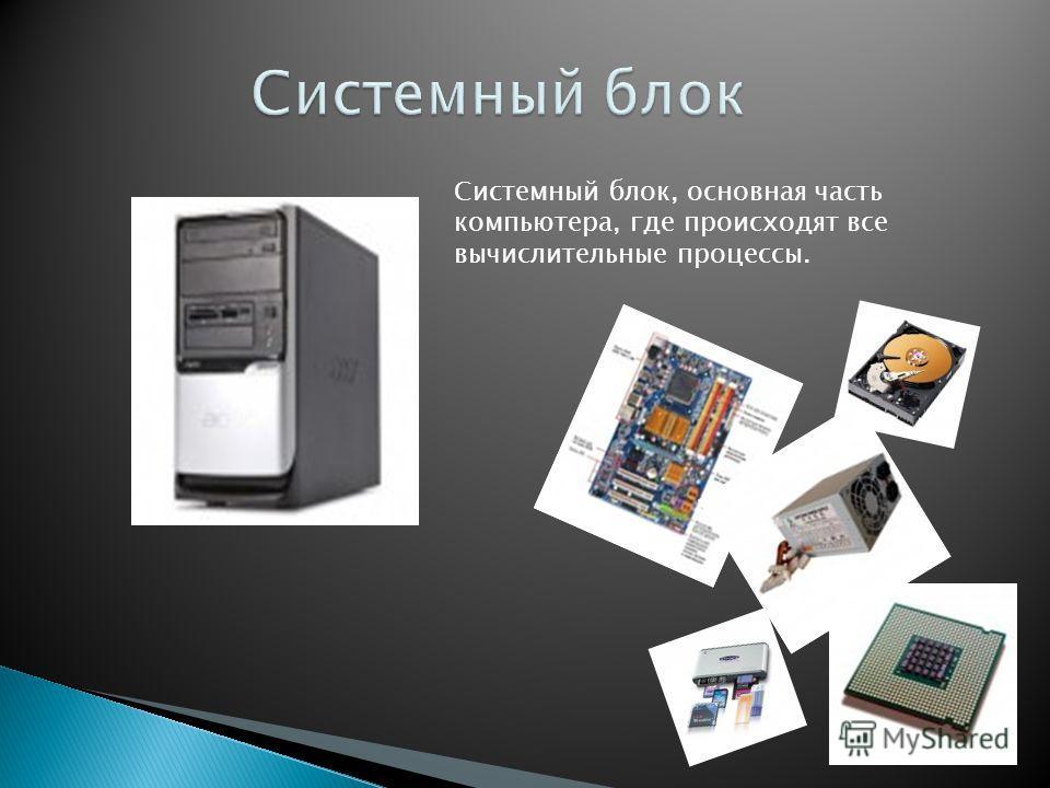 Системный блок, основная часть компьютера, где происходят все вычислительные процессы.