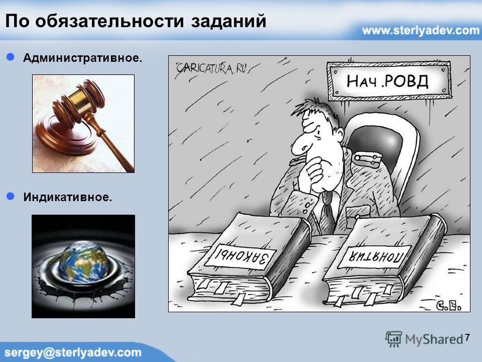 По обязательности заданий Административное. Индикативное. 7