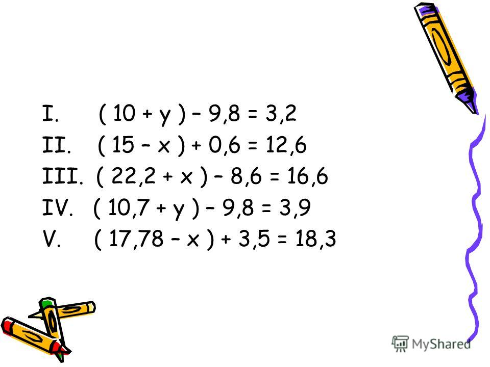 I. ( 10 + у ) – 9,8 = 3,2 II. ( 15 – х ) + 0,6 = 12,6 III. ( 22,2 + х ) – 8,6 = 16,6 IV. ( 10,7 + у ) – 9,8 = 3,9 V. ( 17,78 – х ) + 3,5 = 18,3