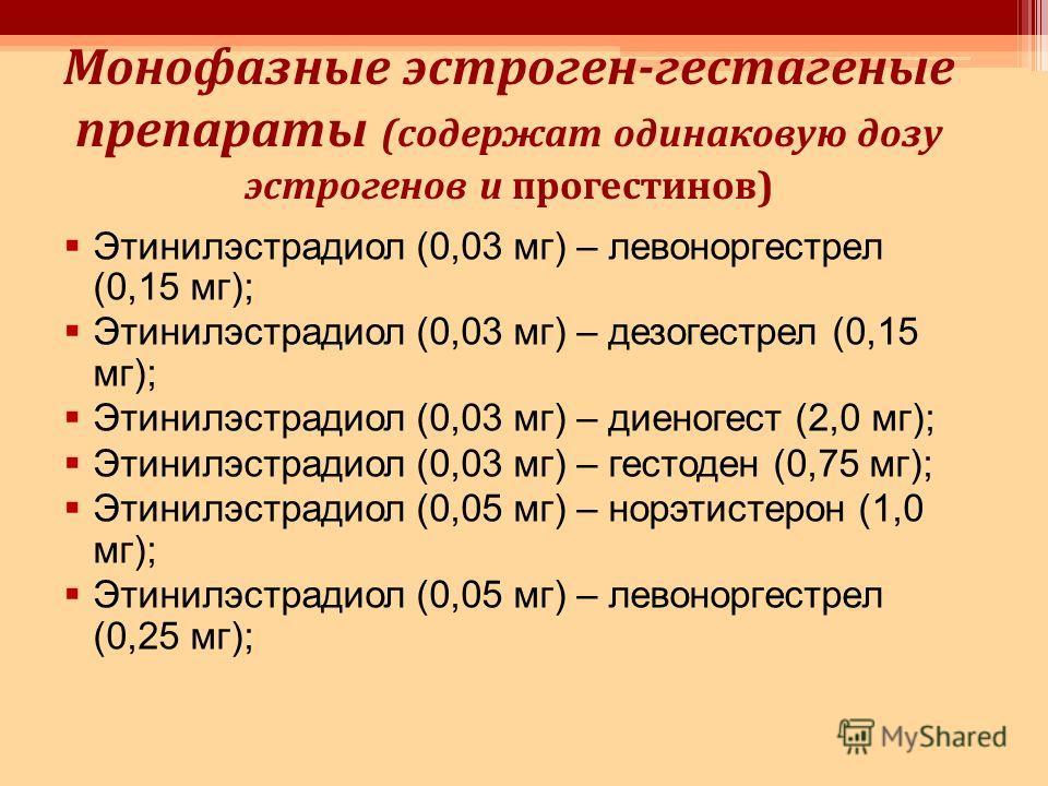 Монофазные эстроген-гестагеные препараты (содержат одинаковую дозу эстрогенов и прогестинов) Этинилэстрадиол (0,03 мг) – левоноргестрел (0,15 мг); Этинилэстрадиол (0,03 мг) – дезогестрел (0,15 мг); Этинилэстрадиол (0,03 мг) – диеногест (2,0 мг); Этин