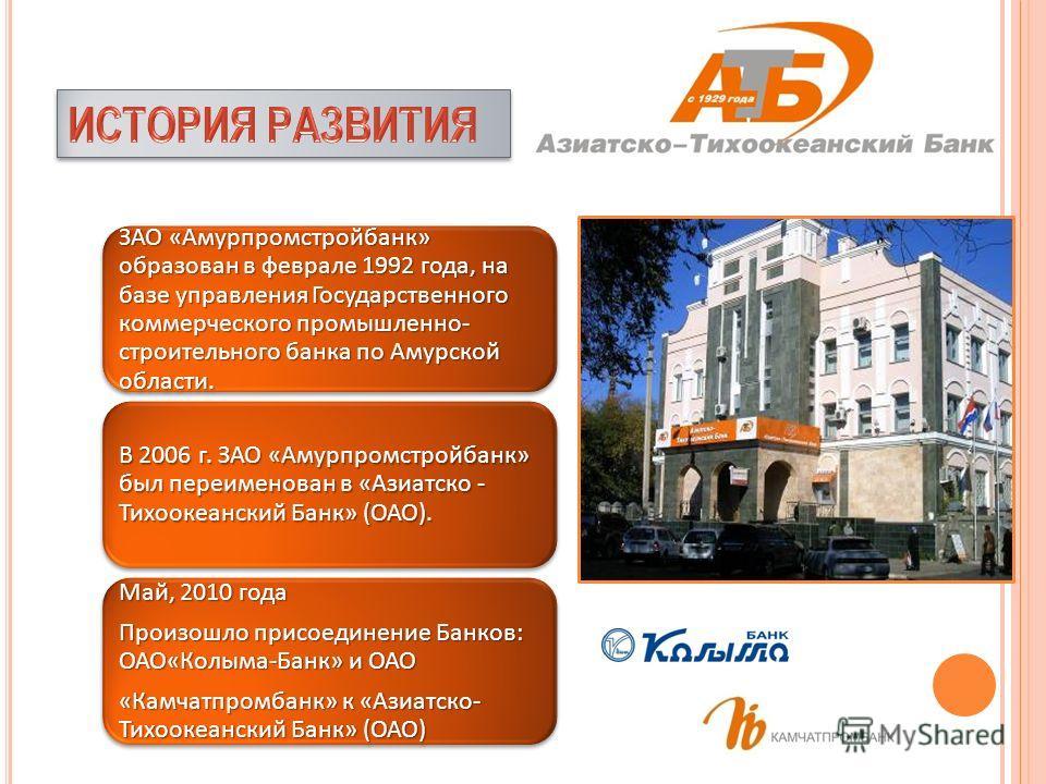 ЗАО «Амурпромстройбанк» образован в феврале 1992 года, на базе управления Государственного коммерческого промышленно- строительного банка по Амурской области. ЗАО «Амурпромстройбанк» образован в феврале 1992 года, на базе управления Государственного
