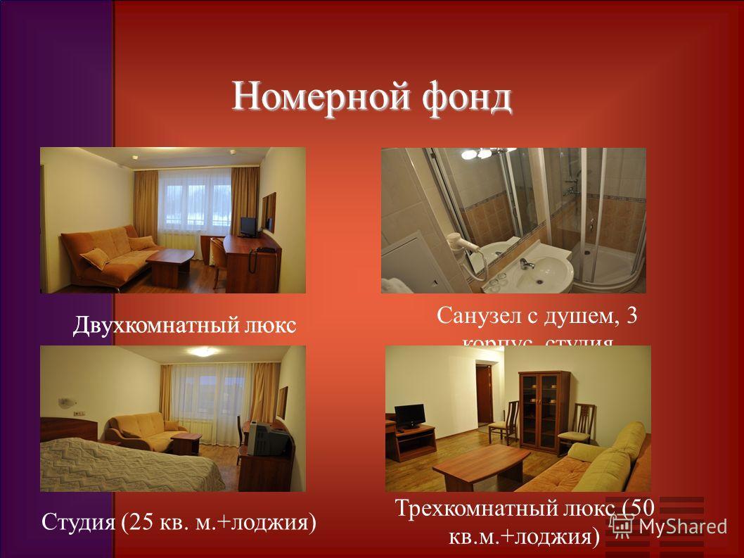 Номерной фонд Двухкомнатный люкс Санузел с душем, 3 корпус, студия Двухкомнатный люкс Трехкомнатный люкс (50 кв.м.+лоджия) Студия (25 кв. м.+лоджия)