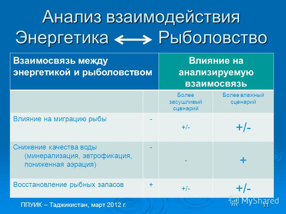 Steering Committee 12 November 2007 Анализ взаимодействия Энергетика Рыболовство ППУИК – Таджикистан, март 2012 г. 11 Взаимосвязь между энергетикой и рыболовством Влияние на анализируемую взаимосвязь Более засушливый сценарий Более влажный сценарий В