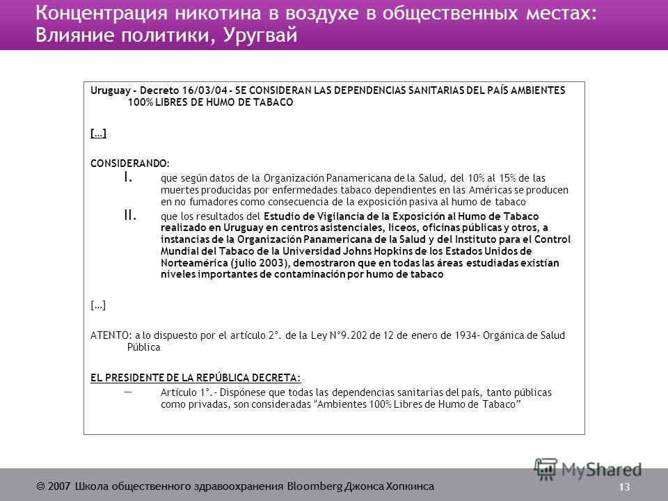 2007 Школа общественного здравоохранения Bloomberg Джонса Хопкинса 13 Концентрация никотина в воздухе в общественных местах: Влияние политики, Уругвай Uruguay - Decreto 16/03/04 - SE CONSIDERAN LAS DEPENDENCIAS SANITARIAS DEL PAÍS AMBIENTES 100% LIBR