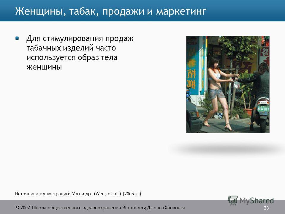 2007 Школа общественного здравоохранения Bloomberg Джонса Хопкинса 23 Источники иллюстраций: Уэн и др. (Wen, et al.) (2005 г.) Женщины, табак, продажи и маркетинг Для стимулирования продаж табачных изделий часто используется образ тела женщины
