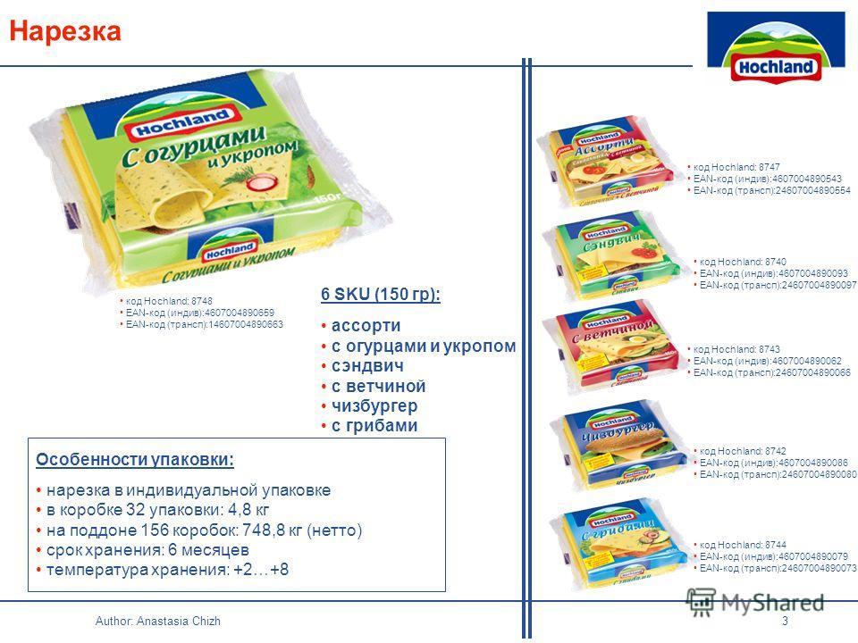 Author: Anastasia Chizh 3 Нарезка 6 SKU (150 гр): ассорти с огурцами и укропом сэндвич с ветчиной чизбургер с грибами Особенности упаковки: нарезка в индивидуальной упаковке в коробке 32 упаковки: 4,8 кг на поддоне 156 коробок: 748,8 кг (нетто) срок