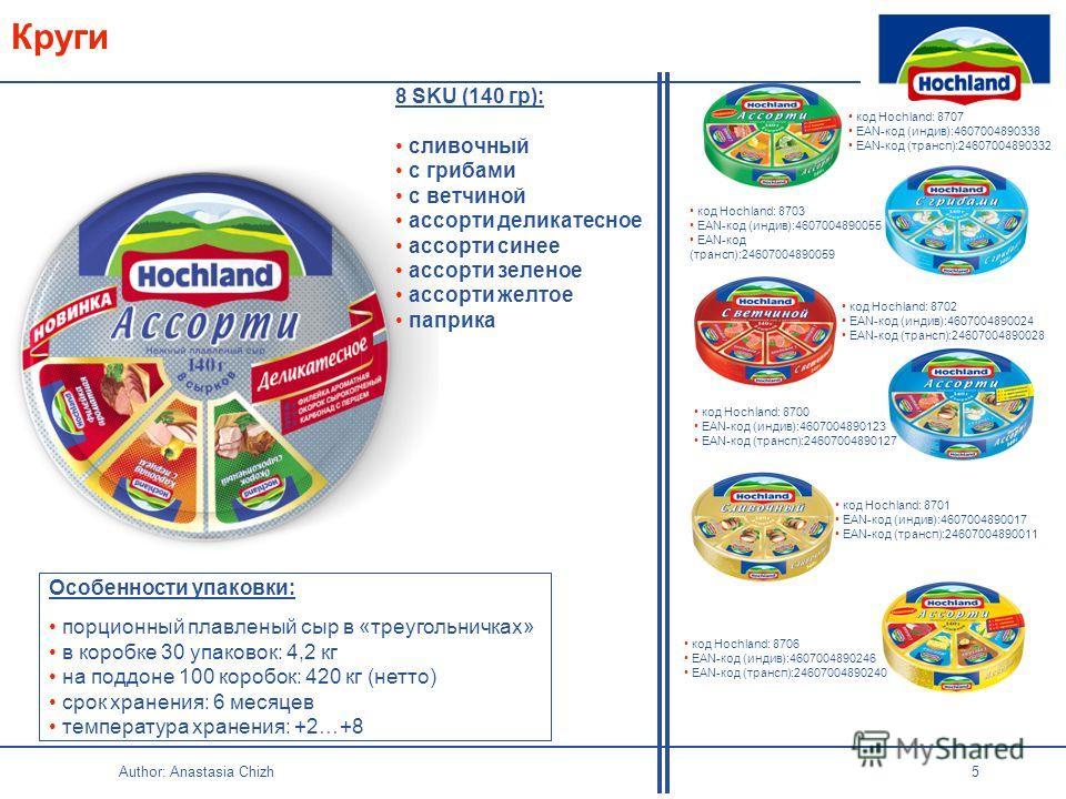 Author: Anastasia Chizh 5 Круги Особенности упаковки: порционный плавленый сыр в «треугольничках» в коробке 30 упаковок: 4,2 кг на поддоне 100 коробок: 420 кг (нетто) срок хранения: 6 месяцев температура хранения: +2…+8 код Hochland: 8703 EAN-код (ин