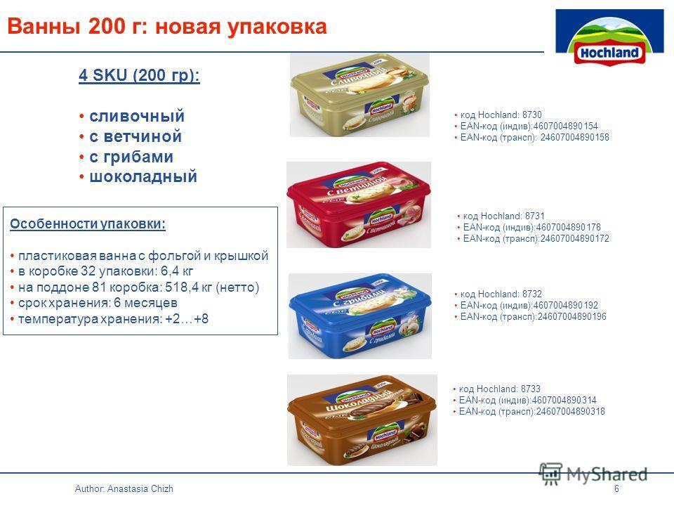 Author: Anastasia Chizh 6 код Hochland: 8730 EAN-код (индив):4607004890154 EAN-код (трансп): 24607004890158 код Hochland: 8732 EAN-код (индив):4607004890192 EAN-код (трансп):24607004890196 код Hochland: 8731 EAN-код (индив):4607004890178 EAN-код (тра