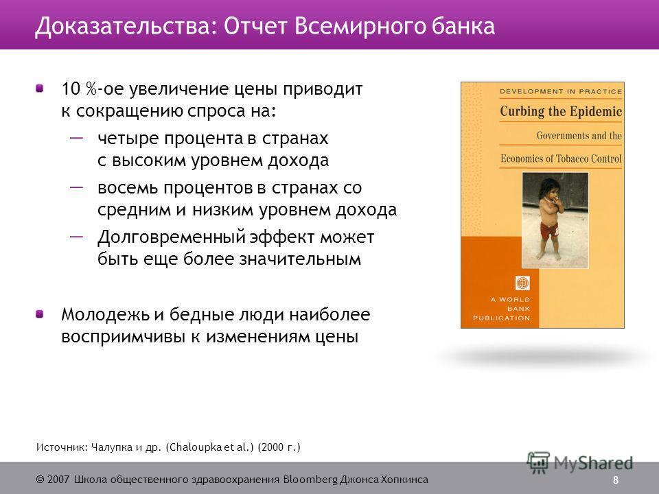 2007 Школа общественного здравоохранения Bloomberg Джонса Хопкинса 8 Источник: Чалупка и др. (Chaloupka et al.) (2000 г.) Доказательства: Отчет Всемирного банка 10 %-ое увеличение цены приводит к сокращению спроса на: четыре процента в странах с высо