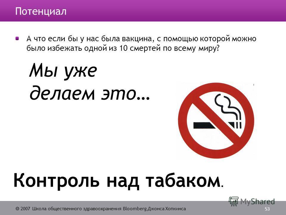 2007 Школа общественного здравоохранения Bloomberg Джонса Хопкинса 53 Мы уже делаем это… Контроль над табаком. Потенциал А что если бы у нас была вакцина, с помощью которой можно было избежать одной из 10 смертей по всему миру?