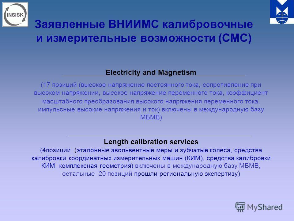 Заявленные ВНИИМС калибровочные и измерительные возможности (СМС) Electriсity and Magnetism (17 позиций (высокое напряжение постоянного тока, сопротивление при высоком напряжении, высокое напряжение переменного тока, коэффициент масштабного преобразо