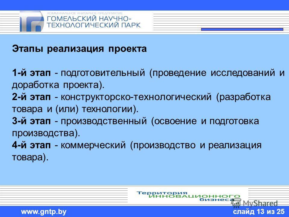 слайд 13 из 25 www.gntp.by Этапы реализация проекта 1-й этап - подготовительный (проведение исследований и доработка проекта). 2-й этап - конструкторско-технологический (разработка товара и (или) технологии). 3-й этап - производственный (освоение и п