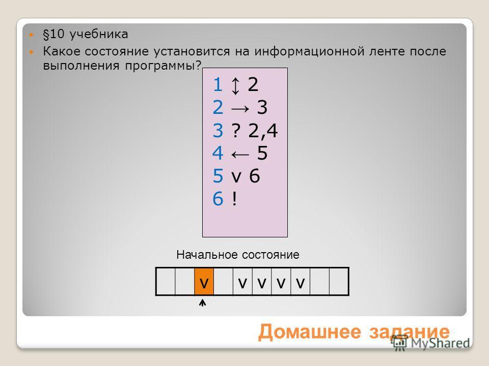 Начальное состояние Домашнее задание vvvvv 1 2 2 3 3 ? 2,4 4 5 5 v 6 6 ! §10 учебника Какое состояние установится на информационной ленте после выполнения программы?
