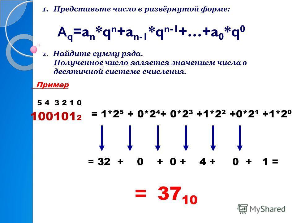 1.Представьте число в развёрнутой форме: А q =a n *q n +a n-1 *q n-1 +…+a 0 *q 0 2. Найдите сумму ряда. Полученное число является значением числа в десятичной системе счисления. Пример 5 4 3 2 1 0 = 1*2 5 + 0*2 4 + 0*2 3 +1*2 2 +0*2 1 +1*2 0 = 32 + 0