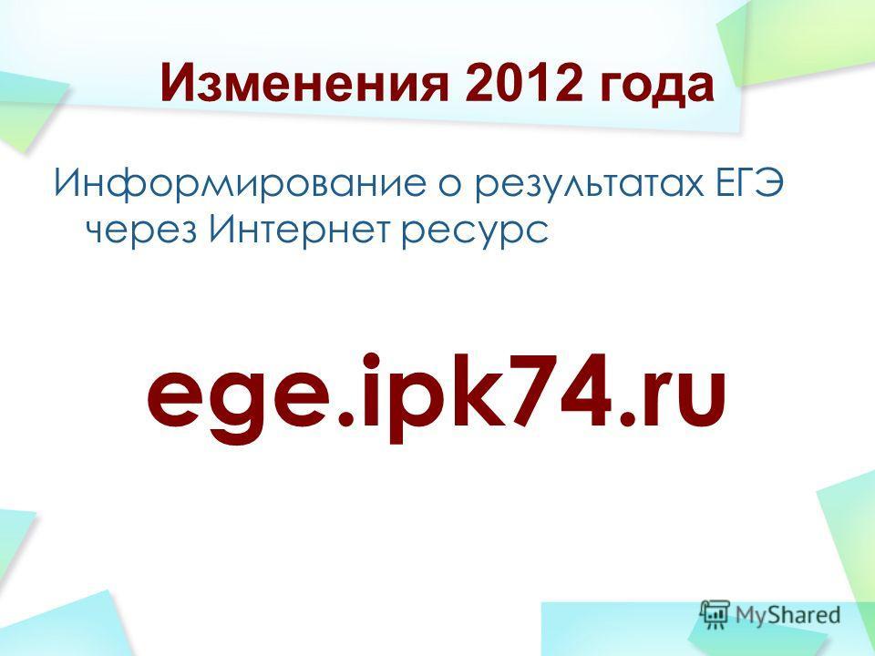 Изменения 2012 года Информирование о результатах ЕГЭ через Интернет ресурс ege.ipk74.ru