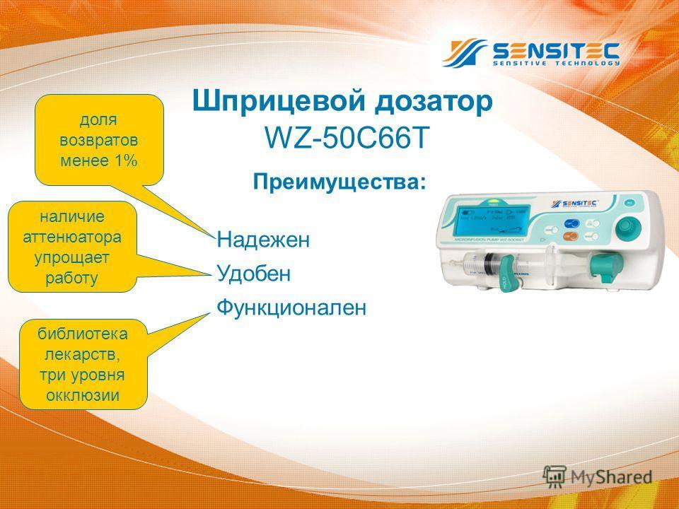 Преимущества: Надежен Удобен Функционален WZ-50C66T Шприцевой дозатор доля возвратов менее 1% библиотека лекарств, три уровня окклюзии наличие аттенюатора упрощает работу