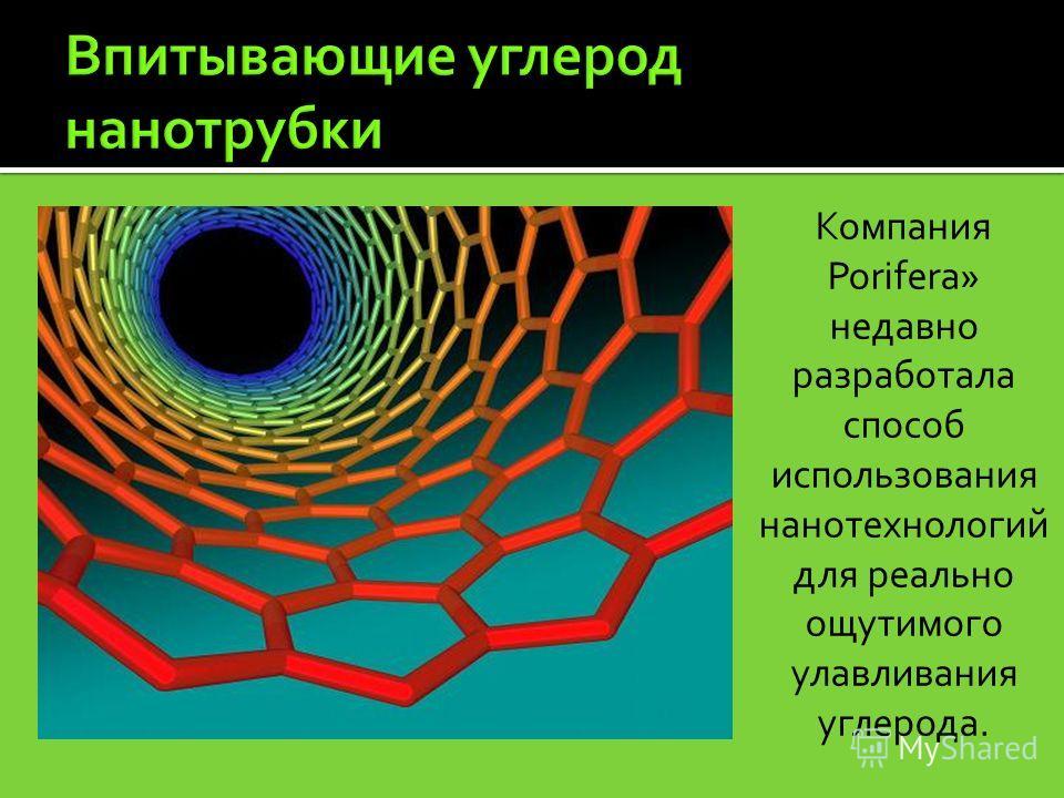 Компания Porifera» недавно разработала способ использования нанотехнологий для реально ощутимого улавливания углерода.